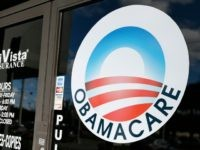 An Obamacare logo is shown on the door of the UniVista Insurance agency in Miami, Florida on January 10, 2017. As President-elect Donald Trump's administration prepares to take over Washington, they have made it clear that overturning and replacing the Affordable Care Act is a priority. / AFP / RHONA …