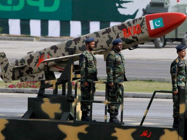 A Pakistani-made Cruise missile Ra'ad is loaded on a trailer rolls down during a military parade to mark Pakistan's Republic Day in Islamabad, Pakistan, Wednesday, March 23, 2016. Pakistan's President praised his country's security forces and pledged to continue the fight against terrorism, speaking at a rally during a national …