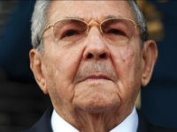 Cuba's President Raul Castro listens to the playing of national hymns during his welcome ceremony at Miraflores presidential palace before the start of an emergency ALBA meeting in Caracas, Venezuela, Tuesday, March 17, 2015. Leftist allies of Venezuela on Tuesday rallied behind embattled President Nicolas Maduro in his faceoff with the U.S. government, which he is accusing of trying to oust his socialist administration. (AP Photo/Ariana Cubillos) THE ASSOCIATED PRESS