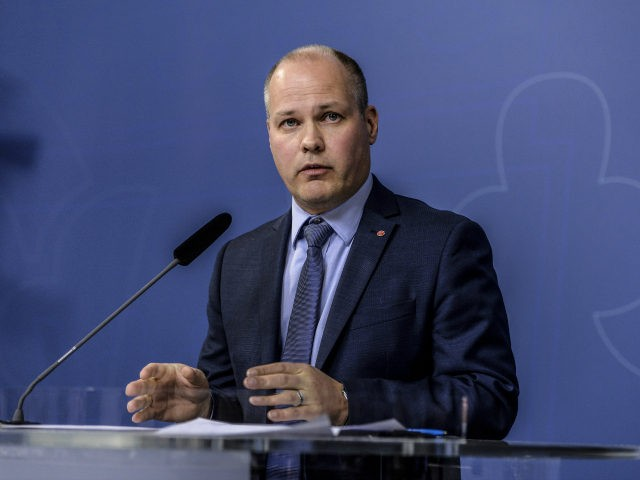 Minister for Justice and Migration Morgan Johansson speaks during a press conference at the Swedish government headquarters in Stockholm, Sweden, November 5, 2015. Johansson said durthat Sweden can no longer guarantee accommodation for refugees seeking asylum in Sweden. AFP PHOTO / TT NEWS AGENCY / JESSICA GOW +++ SWEDEN OUT …
