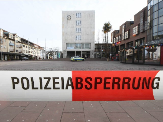The area around the city hall of Gaggenau, southwestern Germany, is cordoned off with barrier tape of the police on March 3, 2017. Gaggenau received a bomb threat, a day after blocking a rally by Turkey's justice minister to promote a referendum on expanding President Recep Tayyip Erdogan's powers. / …