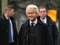 Dutch far-right Freedom Party leader (Partij Voor De Vrijheid, PVV) Geert Wilders arrives to a protest in front of the Turkish embassy at The Hague on March 8, 2017. Wilders protested against the Turkish government intention to campaign in the Netherlands in favor of the referendum on the Turkish constitutional …