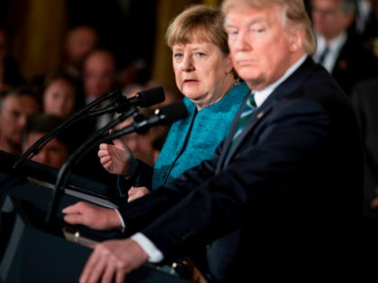 Germany's Chancellor Angela Merkel and US President Donald Trump listen to a question during a press conference in the East Room of the White House March 17, 2017 in Washington, DC. / AFP PHOTO / Brendan Smialowski (Photo credit should read BRENDAN SMIALOWSKI/AFP/Getty Images)