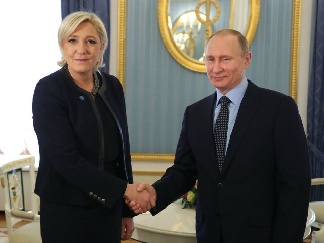 Russian President Vladimir Putin meets with French presidential election candidate for the far-right Front National (FN) party Marine Le Pen at the Kremlin in Moscow on March 24, 2017. / AFP PHOTO / SPUTNIK / Mikhail KLIMENTYEV (Photo credit should read MIKHAIL KLIMENTYEV/AFP/Getty Images)