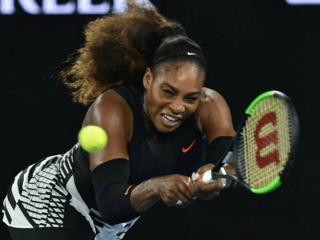 Serena Williams in action against Lucie Safarova on day four of the Australian Open in Melbourne on January 19, 2017