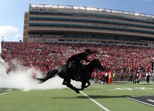 Oct 10, 2015; Lubbock, TX, USA; The Texas Tech Red Raiders Masked Rider enters the field before the game with the Iowa State Cyclones at Jones AT&T Stadium. Mandatory Credit: Michael C. Johnson-USA TODAY Sports