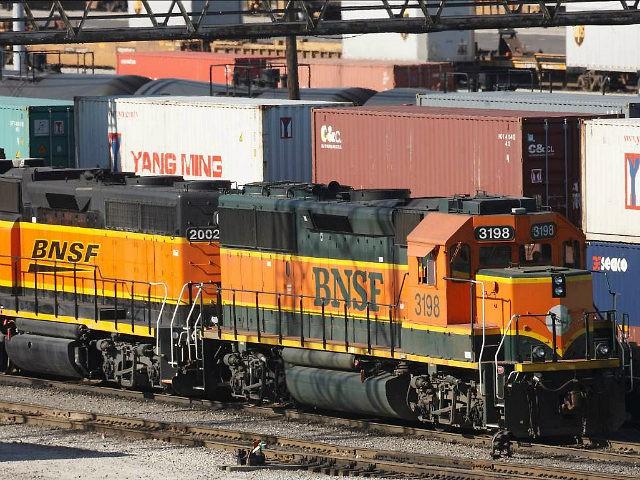 Burlington Northern Santa Fe trains make their way through a rail yard in Cicero, Illinois November 3, 2009. REUTERS/John Gress