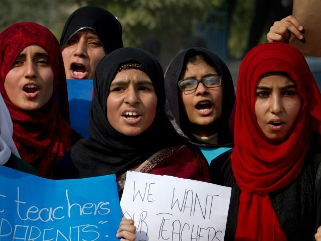 Pakistani students of the Pak-Turk International school chant slogans during a protest against the deportation of their teachers, in Islamabad, Pakistan, Friday, Nov. 18, 2016. Pakistan's order for 400 Turkish nationals, mostly schoolteachers and their families, to leave the country within 72 hours. They have petitioned a court against the …