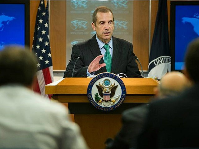 WASHINGTON, USA - FEBRUARY 17: Deputy Spokesperson Mark Toner gives the daily press briefing at the U.S. State Department in Washington, USA on February 17, 2016. (Photo by Samuel Corum/Anadolu Agency/Getty Images)