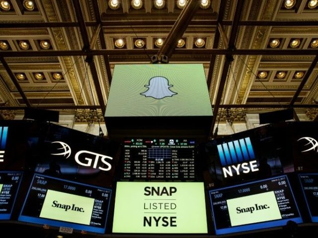 "Snapchat is trading under the ticker ""SNAP"" on the New York Stock Exchange"