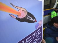 South Korean protesters rally against the planned deployment of the US Terminal High-Altitude Area Defense (THAAD) missile-defence system. in Seoul on February 28, 2017