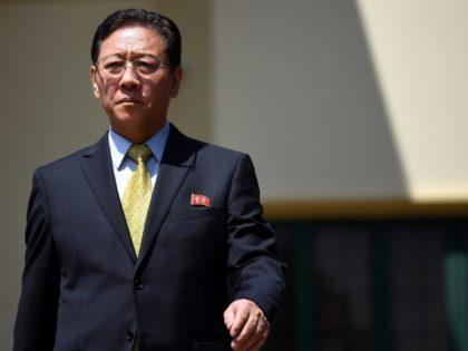 Kang Chol, North Korea's ambassador to Malaysia, approaches journalists outside the North Korean Embassy in Kuala Lumpur on February 20, 2017