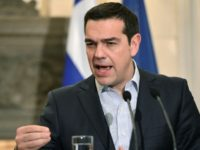 Greek Prime Minister Alexis Tsipras speaks during a press conference with his French counterpart Bernard Cazeneuve (not in picture) in Athens, on March 3, 2017