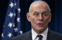Homeland Security Secretary John Kelly speaks on visa travel at the US Customs and Border Protection Press Room in the Reagan Building in Washington, DC, on March 6, 2017