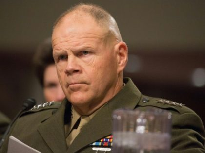 General Robert Neller listens during the Senate Armed Services Committee on Information Surrounding the Marines United Website at the Dirksen Senate Office Building on March 14, 2017