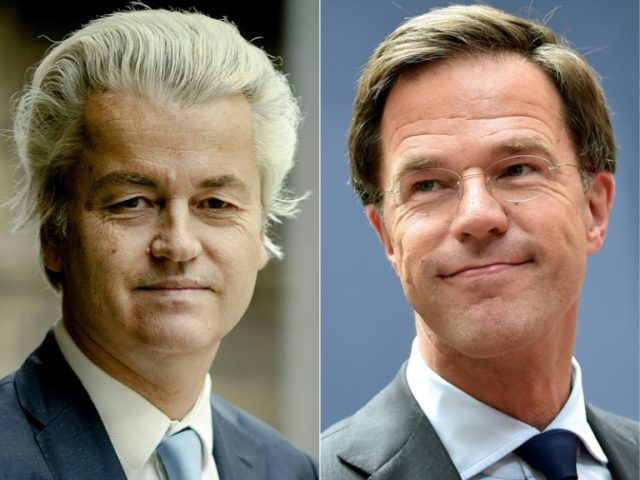 Geert Wilders (L), leader of the Freedom Party (PVV) clashed in a head-to-head debate with Prime Minister Mark Rutte on the eve of crunch polls