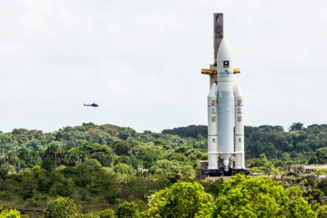 An Ariane 5 rocket sits on the launch pad at the Kourou Space Center in French Guiana