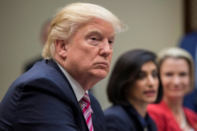 US President Donald Trump speaks during the Women in Healthcare panel at the White House on March 22, 2017