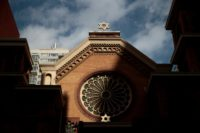 The Star of David stands atop the Park East Synagogue in New York City