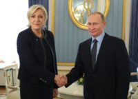 Russian President Vladimir Putin met French presidential election candidate Marine Le Pen for talks at the Kremlin  on March 24, 2017