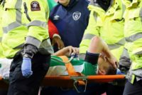 Republic of Ireland's Seamus Coleman is strechered out after a horrific tackle by Wales's Neil Taylor in their World Cup 2018 qualifier in Dublin on March 24, 2017