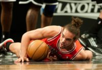 Joakim Noah, then of the Chicago Bulls, pictured during game one of their first round NBA playoff game against the Brooklyn Nets in New York, on April 20, 2013