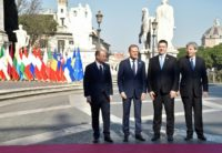 (L-R) Malta's PM Joseph Muscat, European Council President Donald Tusk, Estonia PM Juri Ratas and Italy PM Paolo Gentiloni pose ahead of a summit of EU leaders to mark the 60th anniversary of the founding Treaty of Rome, in Rome on March 25, 2017