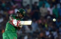 Bangladesh cricketer Tamim Iqbal plays a shot during their first one day international (ODI) cricket match against Sri Lanka in Dambulla on March 25, 2017