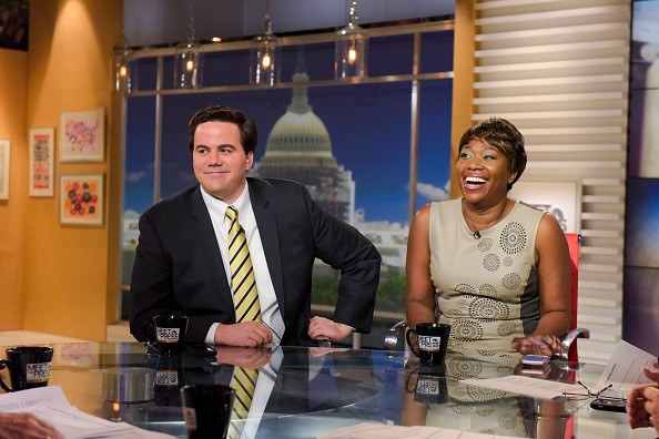 "MEET THE PRESS -- Pictured: (l-r) Robert Costa, National Political Reporter, The Washington Post, left, and Joy Reid, Host of MSNBCs AM Joy; MSNBC Political Analyst, right, appear on ""Meet the Press"" in Washington, D.C., Sunday August 28, 2016. (Photo by: William B. Plowman/NBC/NBC NewsWire via Getty Images)"