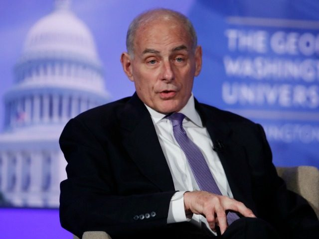 Department of Homeland Security Secretary John Kelly participates in a moderated discussion at the Center for Cyber and Homeland Security, April 18, 2017.