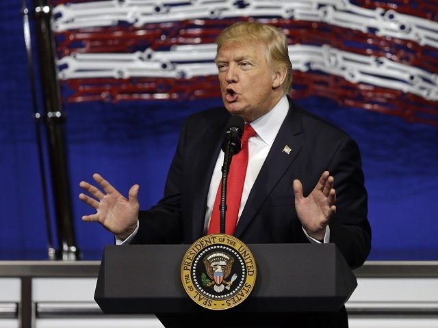 President Donald Trump speaks at Snap-On Tools in Kenosha, Wis., Tuesday, April 18, 2017. The president hopes to revive the economic populism that helped drive his election campaign, signing an order in politically important Wisconsin to tighten rules on technology companies bringing in highly skilled foreign workers. (AP Photo/Kiichiro Sato)