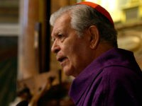 Cardinal Jorge Liberato Urosa Savino celebrates a mass in memory of late Venezuelan President Hugo Chavez, in Rome's Santa Maria dei Monti Church, Friday, March 8, 2013. (AP Photo/Gregorio Borgia)