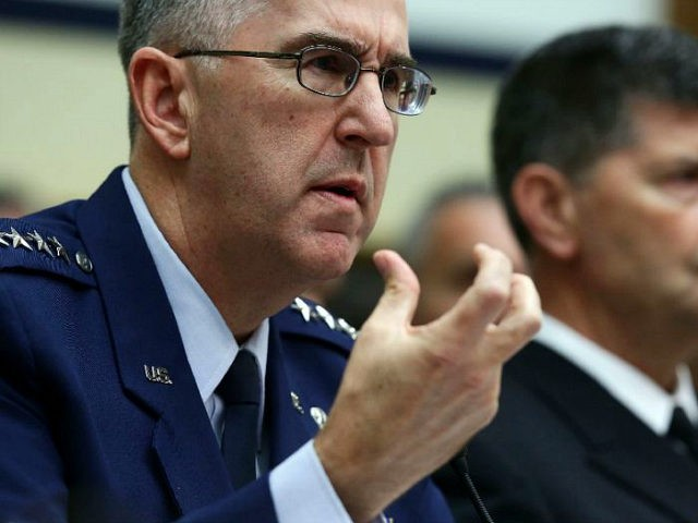 WASHINGTON, DC - MARCH 08: (L-R) Commander of the U.S. Strategic Command Air Force Gen. John Hyten (L) and Vice Chief of Naval Operations Adm. Bill Moran testify during a hearing before House Armed Services Committee March 8, 2017 on Capitol Hill in Washington, DC. The committee held a hearing …