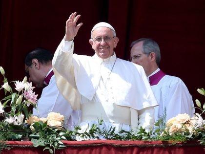 VATICAN CITY, VATICAN - APRIL 16: Pope Francis delivers his traditional 'Urbi et Orbi' Blessing - to the City of Rome, and to the World - from the central balcony overlooking St. Peter's Square on April 16, 2017 in Vatican City, Vatican. Pope Francis is due to visit Cairo on …