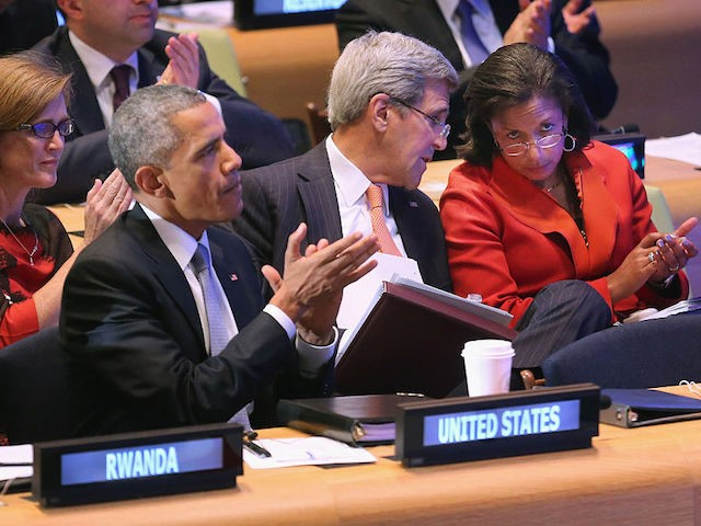 NEW YORK, NY - SEPTEMBER 28: (AFP OUT) U.S. President Barack Obama (2nd L) sits with his foreign policy team (L-R) U.S. Ambassador to the United Nations Samantha Power, Secretary of State John Kerry and National Security Advisor Susan Rice during the Leaders' Summit on Peacekeeping at the 70th annual …