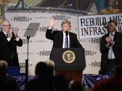 WASHINGTON, D - APRIL 4: US President Donald Trump makes remarks at the 2017 North America's Building Trades Unions National Legislative Conference at the Washington Hilton on April 4, 2017 in Washington, DC. (Photo by Olivier Douliery-Pool/Getty Images)