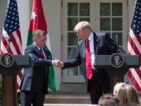 King Abdullah II of Jordan give a press conference with US President Donald Trump in the Rose Garden at the White House in Washington, DC, on April 5, 2017. / AFP PHOTO / NICHOLAS KAMM (Photo credit should read NICHOLAS KAMM/AFP/Getty Images)