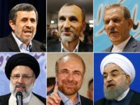 (COMBO) This combination of pictures created on April 15, 2017 shows the main contenders for Iran's upcoming presidential elections: (top L-R) former Iranian president Mahmoud Ahmadinejad speaking after registering at the Interior Ministry's election headquarters for the presidential elections in Tehran on April 12, 2017, Iranian Hamid Baghaie, former vice …