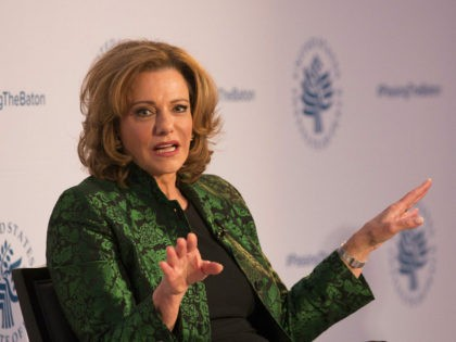 Kathleen Troia 'K.T.' McFarland, Deputy National Security Advisor Designate speaks during a conference on the transition of the US Presidency from Obama to Trump at the US Institute Of Peace at the US Institute Of Peace in Washington DC, January 10, 2017. / AFP / CHRIS KLEPONIS (Photo credit should …