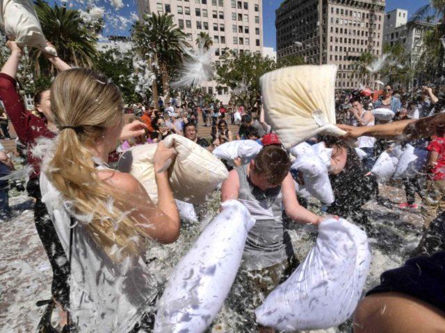 Los Angeles Pillow Fight (Richard Vogel / Associated Press)