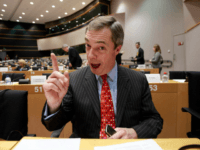 Leader of the UK Independence Party Nigel Farage gestures while speaking during a session at the European Parliament in Brussels on Wednesday, Feb. 9, 2011.