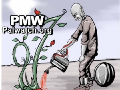 PA daily cartoon PAlestinian watering soil with blood Photo Courtesy Palestinian Media Watch
