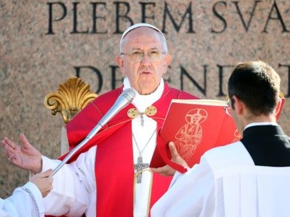 VATICAN CITY, VATICAN - APRIL 09: Pope Francis blesses the palms with holy water during the Palm Sunday Mass at St. Peter's Square on April 9, 2017 in Vatican City, Vatican. At the end of the mass Pope Francis condemned the terror attack on a Coptic church dedicated to St. …