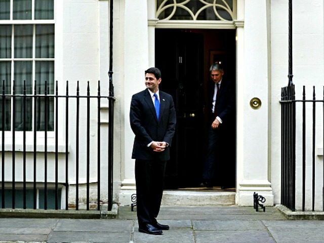 LONDON, ENGLAND - APRIL 19: U.S. speaker of the House of Representatives Paul Ryan is greeted by British Chancellor Philip Hammond to 11 Downing Street on April 19, 2017 in London, England. (Photo by Dan Kitwood/Getty Images)