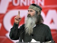 "NATIONAL HARBOR, MD - FEBRUARY 27: Phil Robertson of TV show ""Duck Dynasty"" speaks during an interview at the 42nd annual Conservative Political Action Conference (CPAC) February 27, 2015 in National Harbor, Maryland. Conservative activists attended the annual political conference to discuss their agenda. (Photo by Alex Wong/Getty Images)"