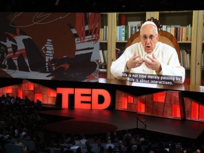 Pope Francis speaks during the TED Conference, urging people to connect with and understand others, during a video presentation at the annual scientific, cultural and academic event in Vancouver, Canada, April 25, 2017. / AFP PHOTO / Glenn CHAPMAN (Photo credit should read GLENN CHAPMAN/AFP/Getty Images)