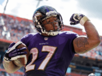 Oct. 6, 2013 - Miami Gardens, Florida, U.S. - Baltimore Ravens running back Ray Rice (27) celebrates his second touchdown run of the game in the fourth quarter at Sun Life Stadium in Miami Gardens, Florida on October 6, 2013.