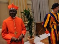Newly appointed cardinal, Guinean Robert Sarah (L) greets visitors during the traditionnal courtesy visit after the consistory on November 20, 2010 at The Vatican. 24 Roman Catholic prelates joined the Vatican's College of Cardinals, the elite body that advises the pontiff and elects his successor upon his death. AFP PHOTO …