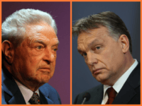 (left) George Soros, founder and chairman of the Open Society Institute and a billionaire investor, attends a forum addressing the global response to the flood in Pakistan at the Asia Society August 19, 2010 in New York City. (right) Hungarian Prime Minister Viktor Orban speaks to the media with Russian …