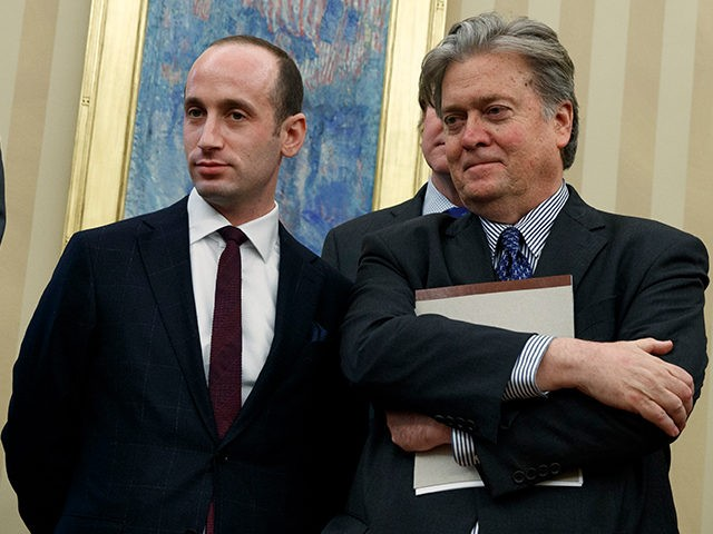 Stephen Miller Steve Bannon WH Jan 23 2017 AP 640x480 - NYT: Trump Roars Again on Trade — a Victory for White House Economic Nationalists